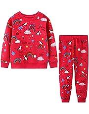 Baogaier Barn sportkläder flickor träningsoverall joggingdräkt sportset långärmad bomull tröja kostym fritidsoverall sweatshirt + sweatpants sportdräkt barnkläder ålder 2 3 4 5 6 7 år
