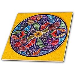 """3dRose Colorido Placa Mexicana, Guanajuato, México Decorativo Azulejos, 12"""" Cerámica, Transparente"""