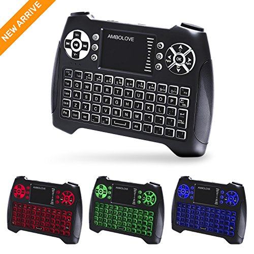 (Updated 2018, 3-Color RGB) Backlit Wireless Mini Keyboard with Touchpad Mouse and Multimedia Keys, 2.4Ghz USB Rechargable Handheld Remote Control Keyboard for PC, HTPC, X-BOX, Android TV Box,Smart TV (Roku Range)
