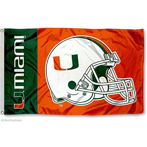 University of Miami Helmet Flag Large 3x5