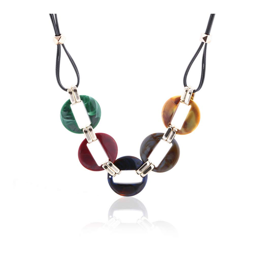 URUHR Acrylic Necklace Resin Pendant Sweater Chain Leather Necklace Fashion Jewelry for Women Girls