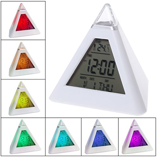 Alarm Clock,OHTOP 1Pc LCD Pyramid Triangle Clock Alarm Multi Color Night