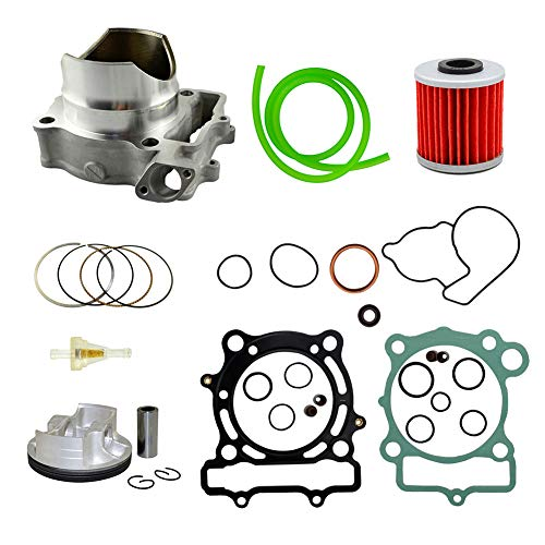 Piston Kit & Oil Filter & Fuel Filter & 40cm Oil Tube Set 77mm Bore for Kawasaki KXF250 2004-2008 ()