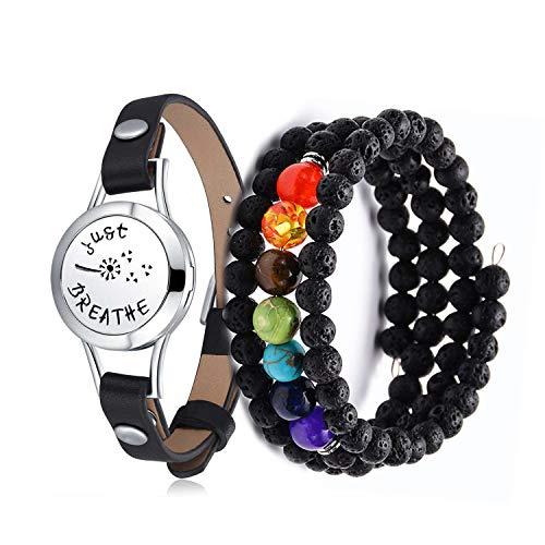Mesinya Just Breathe 316L s.Steel Essential Oils Diffuser Locket Bangle Bracelet (2 Pack for Teen Girl)
