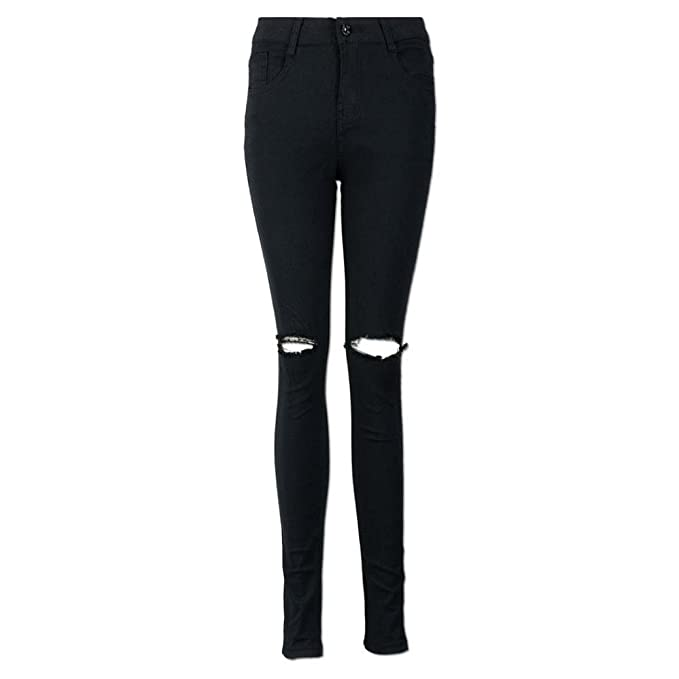 d62eee0e9ee Amazon.com: Wondere Women Juniors Cool Ripped Knee Cut Skinny Denim Jeans,Cool  Full Length Zipper Fly Black Jeans Slim Pencil Trousers: Clothing
