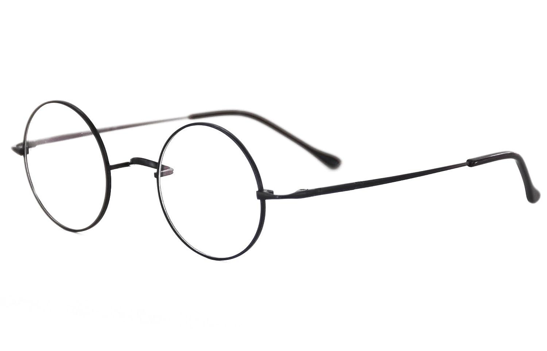 e103a7540c93 Amazon.com  Agstum Pure Titanium Retro Round Prescription Eyeglasses Frame  (Without Nose Pads) (Black