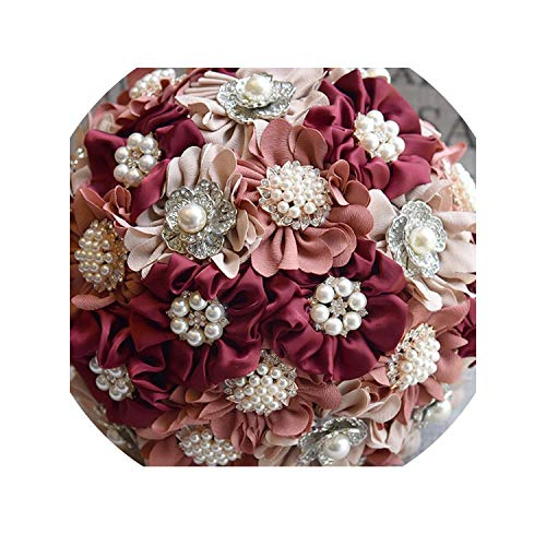 3pc Set Satin Wedding Bouquet Bridal Bouquet Artificial Wedding Flowers with Brooches ()