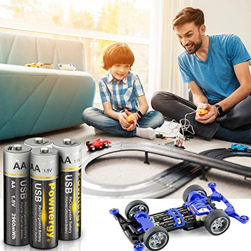 Rechargeable AA Batteries 4 PCS Rechargeable AA Lithium Batteries,2 H USB Fast Charging,Constant Output 1.5V,2960mWh,1000 Cycles Lifespan Lithium AA Batteries