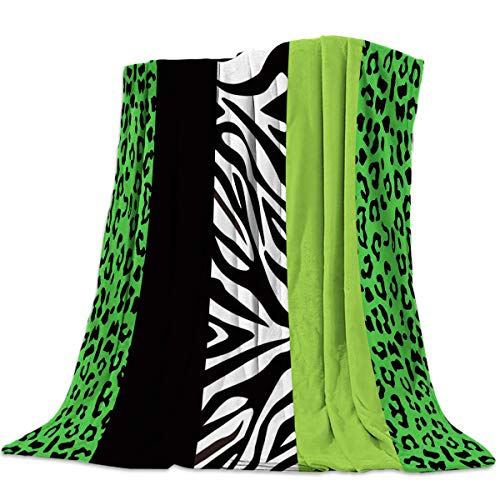 Hostline Green Vertical Stripes Leopard Print Zebra Pattern Blanket Soft Short Plush Throw Blanket for Sofa and Couch Lightweight Luxury Bed Blanket for Everyday Use Outdoor Travel 49