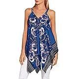 Kiminana Top Blouses Vests,Women's Irregular Hem Printed Sleeveless Blouse Loose T-Shirt Tunic Tank Top Blue