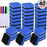 SIQUK 36 Packs Whiteboard Eraser Magnetic White Board Dry Eraser Blue Chalkboard Cleansers Wiper(1.97 x 1.97 Inches) with 4 Pieces Dry Erase Whiteboard Markers for Classroom Offices