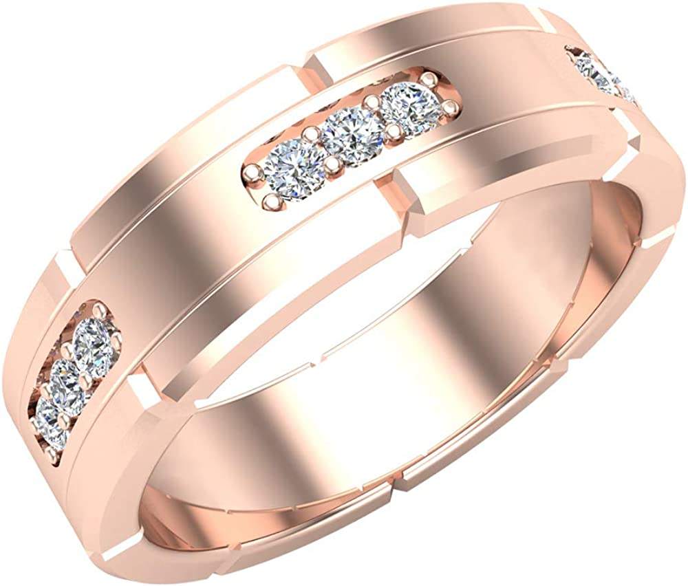 Men's Diamond Wedding Band Semi-Eternity Wedding Ring 14K Gold 0.45 ct tw