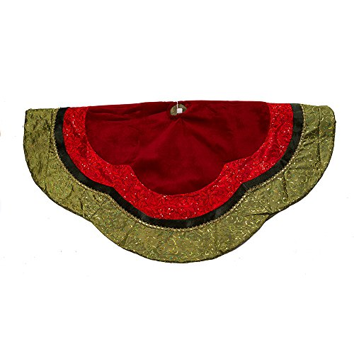 Kurt Adler Velvet and Silk Gold/Green/Red Scalloped Embroidered Sequin Treeskirt with Metallic Trim, 54-Inch (Skirt Tree Velvet)