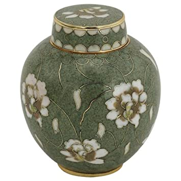 Silverlight Urns Pear Blossom Cloisonne Keepsake Urn, Enameled Metal Urn, Mini Urn for Human Ashes, 3 Inches Tall