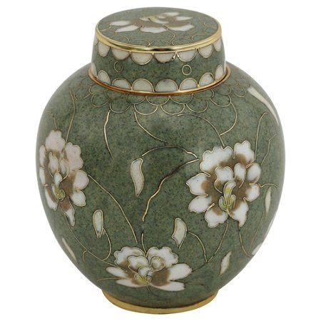 Pear Blossom Cloisonne Keepsake Urn, Enameled Metal Urn, Mini Urn for Human Ashes, 3 Inches Tall Enameled Cloisonne