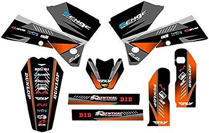 2005-2007 EXC Surge Black Base Senge Graphics kit Compatible with KTM