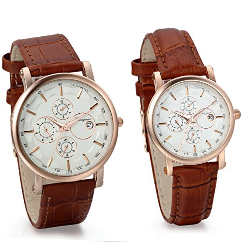 artz Watches with Date Set for Couple with Brown Leather Band Anniversary Valentine Gifts (2pcs) ()