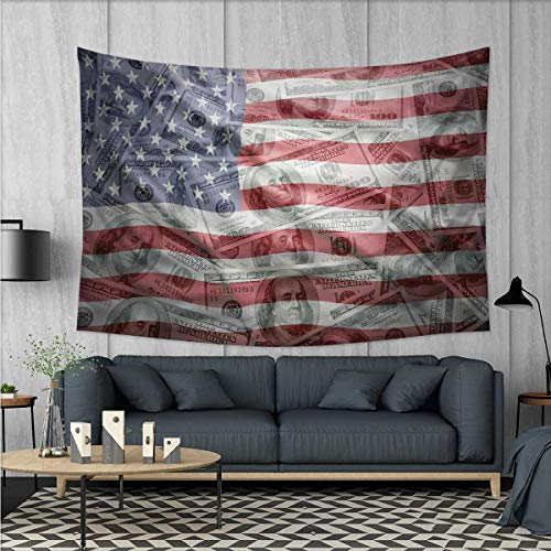 "Anhuthree American Flag Tapestry Table Cover Bedspread Beach Towel American Dollar on Flag Money Currency Exchange Value Global Finance Idol Dorm Decor 71""x60"" Multicolor"