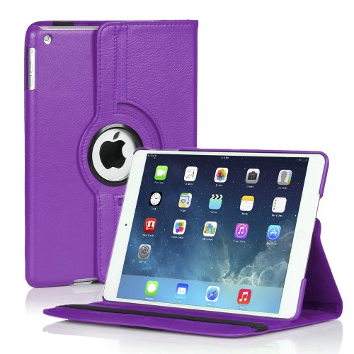 TNP Products 360 Degree Rotating Folio Stand Smart Protective Cover with Auto Sleep Wake Function and Stylus Holder for iPad 2 / 3 / 4th Generation with Retina Display - Purple (Louis Vuitton Ipad 2 Cover)