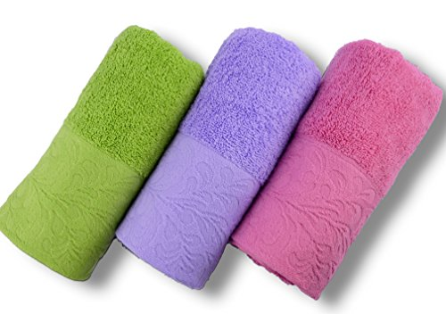 (Cleanbear Hand Towels, 3-pack, 3colors, Size 13