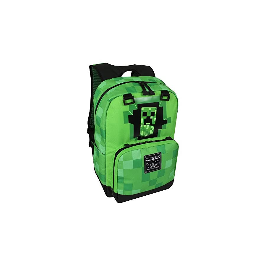 "JINX Minecraft Creepy Creeper Kids Backpack (Green, 17"") for School, Camping, Travel, Outdoors & Fun"