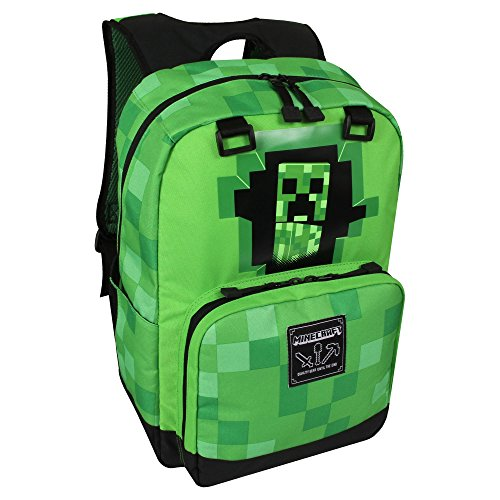 JINX Minecraft Creepy Creeper Kids Backpack (Green, 17