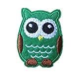 Dosige Cute Cartoon Owl DIY Applique Embroidered Sew Iron on Patches for Kid's Clothes (Green)