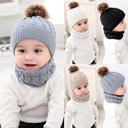 2pcs Baby Knit Hat Scarf Winter Warm Beanie Cap with Scarf Neckwarmer Beanie Knit Skull Cap Hats