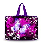 iColor 15'' Laptop Handle Bag 14.5'' 15.4'' 15.6 inch Neoprene Netbook Computer Tablet PC Sleeve Case Carrying Cover Holder Protection - Purple w/white Flower & Butterfly