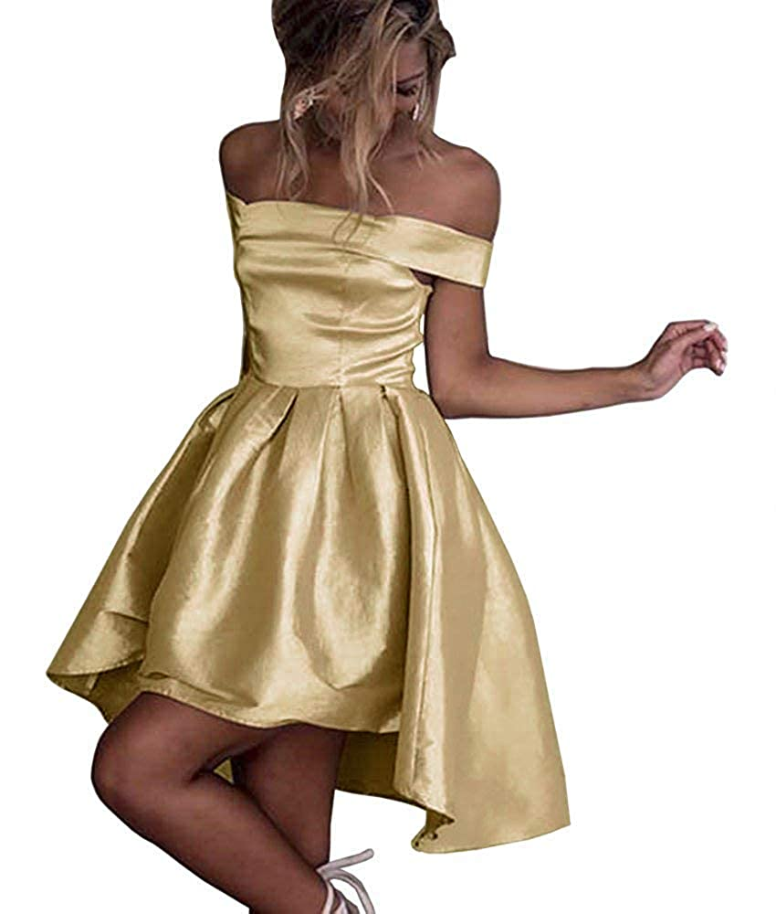 gold Dressylady Champagne OffShoulder High Low Prom Party Homecoming Dress