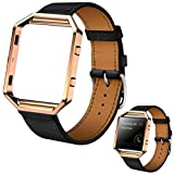 ABC Luxury Genuine Leather Watch band Wrist strap + Metal Frame for Fitbit Blaze Smart Watch (Black)