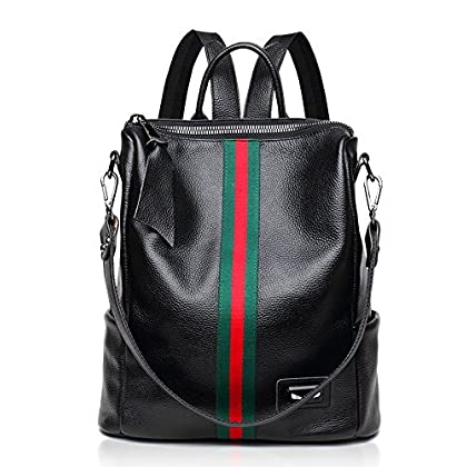 130a12a74f73 Fiswiss Women s Genuine Leather Casual Backpack Everyday Backpack Purses  And Handbags (Black with green stripes)