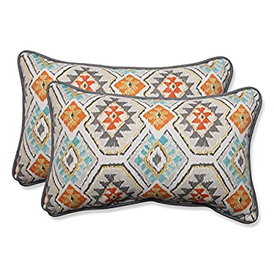 Pillow Perfect Outdoor/Indoor Eresha Oasis Rectangular Throw Pillow (Set of 2) - Includes two (2) outdoor pillows, resists weather and fading in sunlight; Suitable for indoor and outdoor use Plush Fill - 100-percent polyester fiber filling Edges of outdoor pillows are trimmed with matching fabric and cord to sit perfectly on your outdoor patio furniture - patio, outdoor-throw-pillows, outdoor-decor - 51lkJIy096L. SS400  -
