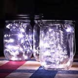 HUANGJIANYMX 2-Pack Solar-powered Mason Jar Lights (Mason Jar/Handle Included),20 Bulbs Bottle caps Light,Used for outdoor courtyard decoration, desk lighting, Bedside lamp. (White flash)