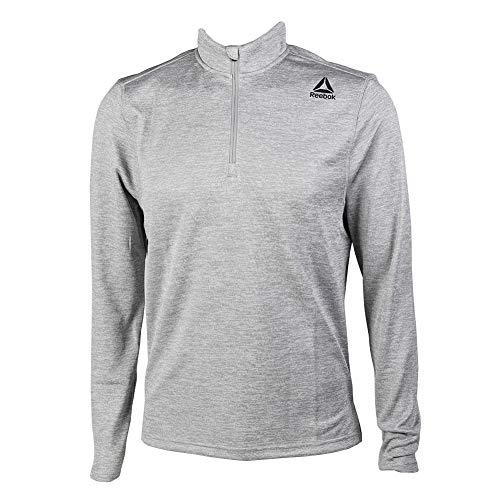 Reebok Double Knit 1/4 Zip, Medium Grey Heather, Medium