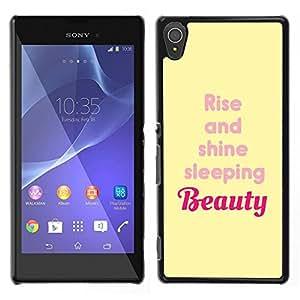 LECELL--Funda protectora / Cubierta / Piel For Sony Xperia T3 -- Rise And Shine Belleza Cita Amarillo --
