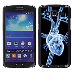 TECHCASE**Cubierta de la caja de protección la piel dura para el ** Samsung Galaxy Grand 2 SM-G7102 SM-G7105 ** Heart Anatomy Art Human Love Drawing Veins
