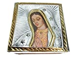 El Relicario de Los Tesoros TIN EMBOSSED WOOD JEWELRY STASH TRINKET BOX MEXICAN FOLK ART HAND CRAFTED (Tin-Our Lady of Guadalupe)