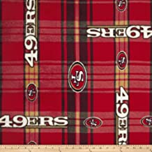 NFL San Francisco 49er's Plaid Fleece Red/Yellow Fabric By The Yard