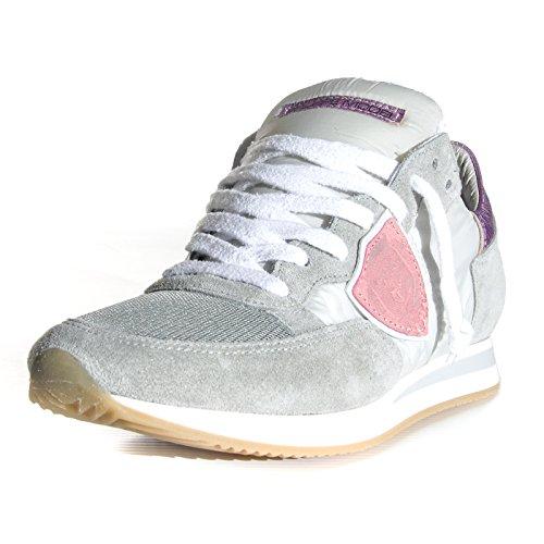 Philippe Model TRLD WX24 - Zapatillas de Piel para mujer Gris Grey/Pink