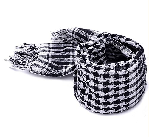 Shemagh Head Neck Scarf Tactical Military Arab Keffiyeh Desert Scarf Wrap 100% Cotton (Black&White) by AVSUPPLY (Image #3)