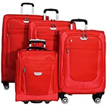 "Ricardo Eureka 4 Piece Deluxe Superlight Luggage Set: 30"", 26"", 21"", & Underseat Bag (Red)"