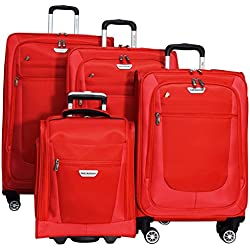 "Ricardo Eureka 4 Piece Deluxe Superlight Luggage Set: 30"", 26"", 21"", & Underseat Bag (Red)"