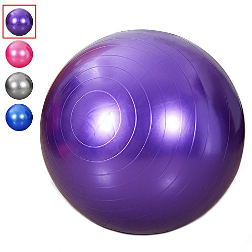 King Size 95 cm Exercise Ball Thick Explosion-proof Yoga Ball for Fitness, Swiss Ball Slimming Yoga With Pump (Purple)