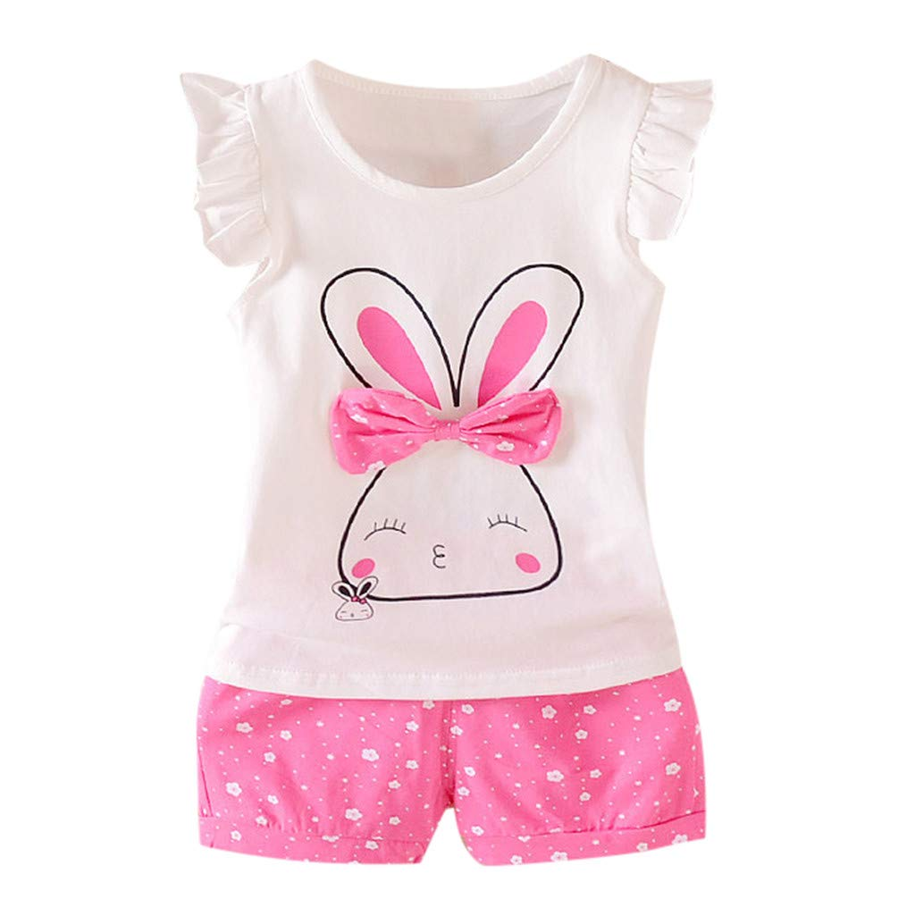 2pcs Baby Girls Outfit, 2019 Toddler Kids Fly Sleeve Rabbit Print Bow Tops + Dot Short Casual Outfit Sets (12-18 Months, Hot Pink)