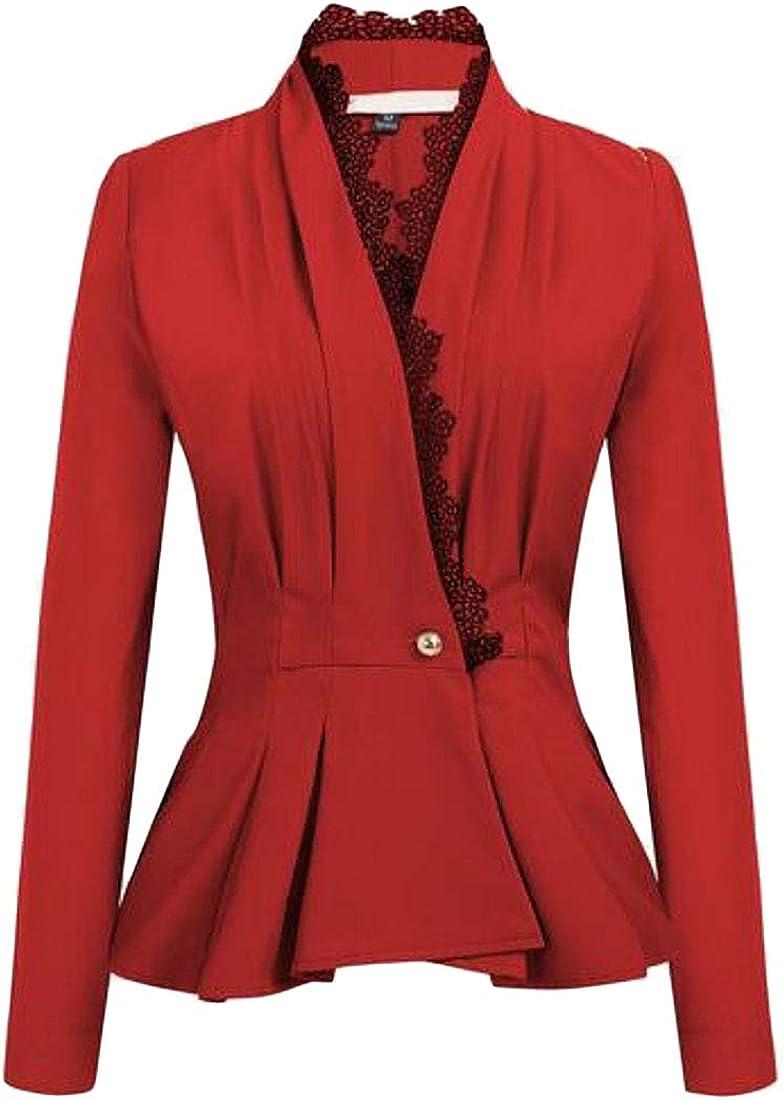 WAWAYA Womens Lace V-Neck One Button Long Sleeve Work Office OL Blazer Jacket Suit Coat