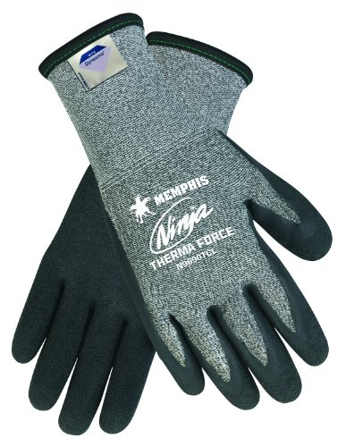 Memphis Glove N9690TCXL Ninja Therma Force Double Layer Gloves with Bi-Polymer Dipped Palm and Fingertips, Gray, X-Large, (Bi Polymer Gloves)