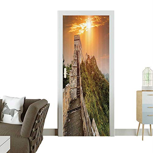 Art Door Stickers The Magnificent Heritage of World Background Brick Borders Door Decals for Home Room DecorationW23 x H70 INCH