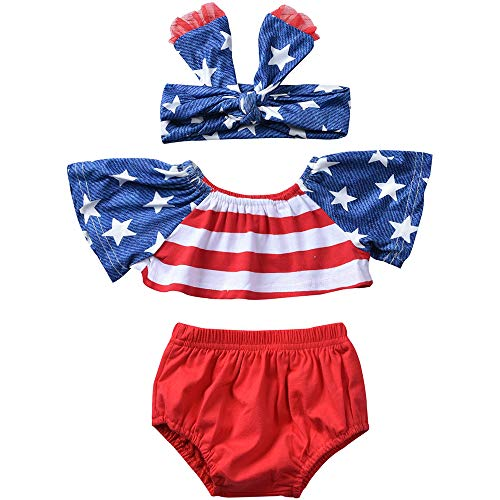 Flag Red Top White Bottom - Mekilyn 3Pcs Baby Girls Short Sleeve Striped Patchwork T-Shirt Top+Solid Bottom Shorts+Headband Stars Sunsuit Playwear (White&Red, 18-24Months)