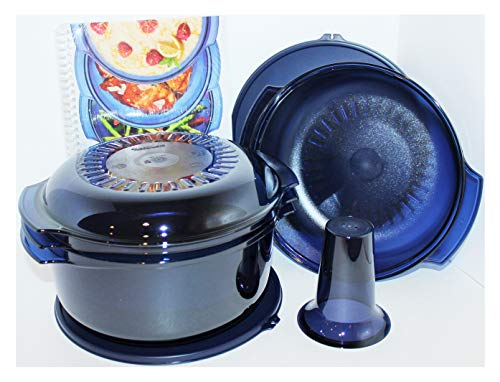 Tupperware Microwave Stack Cooker Complete System in Indigo Blue Plus Cookbook